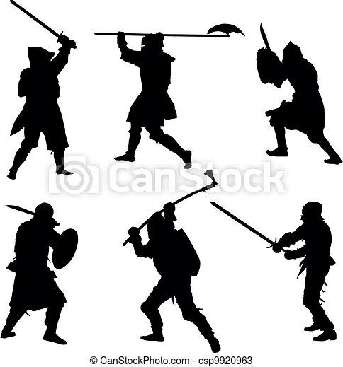 Las siluetas de los antiguos guerreros - csp9920963