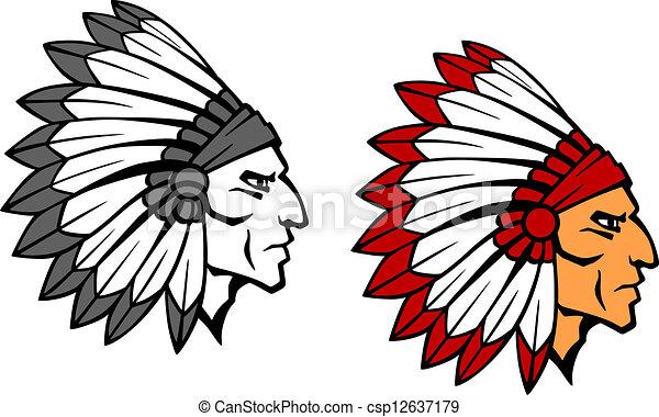guerrier, courageux, indien, mascotte - csp12637179