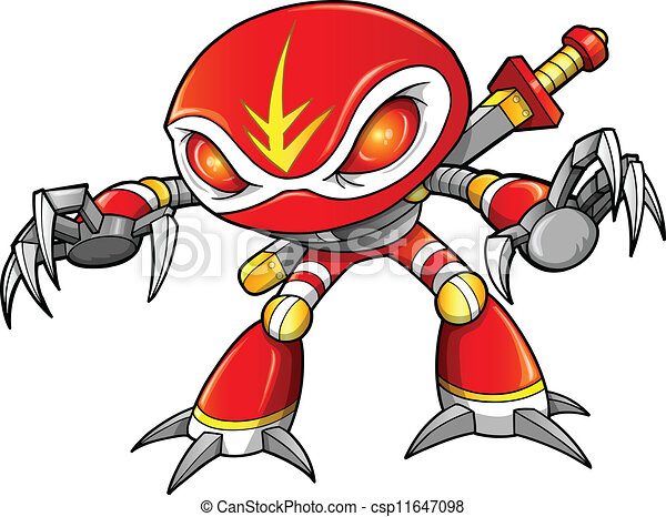 Guerrier cyborg robot ninja soldat guerrier cyborg robot soldat vecteur ninja - Dessiner un ninja ...