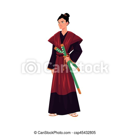 Guerrier Samourai Epees Katana Japonaise Traditionnel Kimono