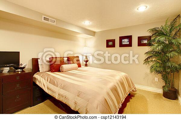 Guest bedroom in the basement. - csp12143194