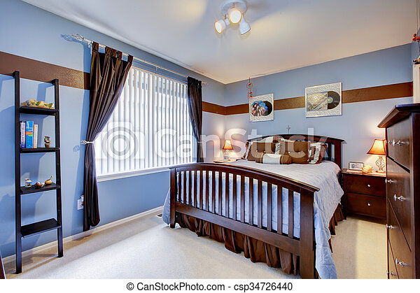 Guest Bedroom With Periwinkle Blue Color Interior And Brown Wood Bed Frame Canstock