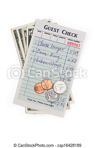 Guest Check and dollar - csp16428189