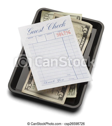 Guest Check Tray and Money - csp26598726