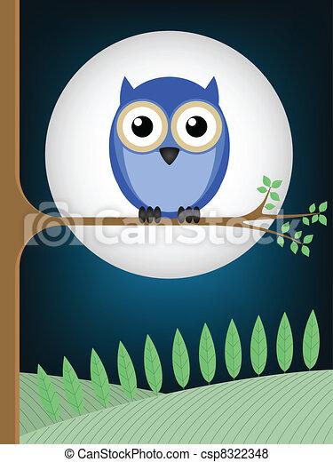 gufo, luna piena - csp8322348