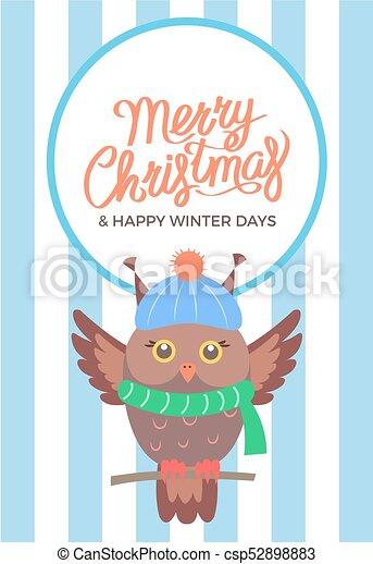 Buon Natale 883.Gufo Ramo Illustrazione Vettore Buon Natale