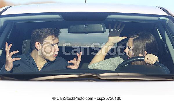 guida, arguire, automobile, coppia, mentre, lei - csp25726180