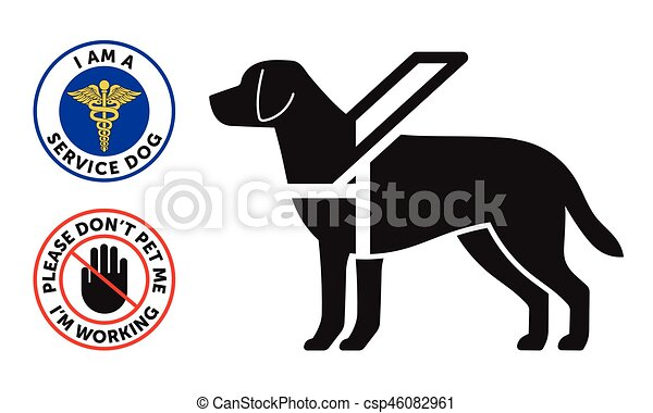 Guide-dog symbol with two round service dog badges - csp46082961