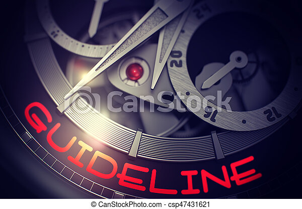 Guideline on Elegant Wristwatch Mechanism. 3D. - csp47431621