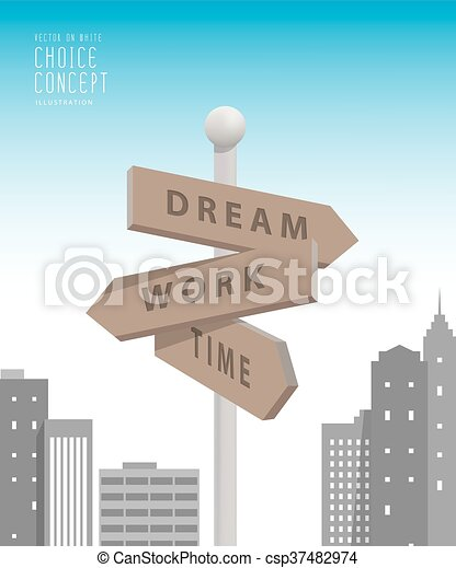 Guidepost in the big city with buildings metaphor of decision. make something about dream and work vector. - csp37482974