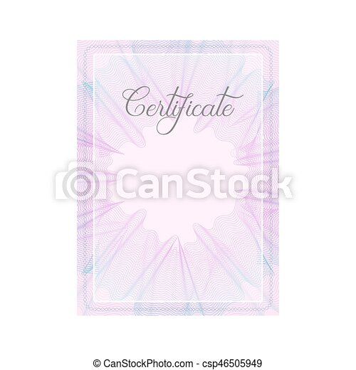 Guilloche official pink certificate with frame - csp46505949