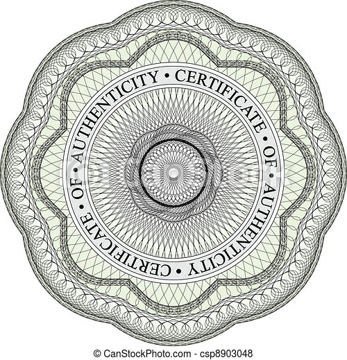 Vector of guilloche seal 1 with circular text stating with circular text stating certificate of authenticity yadclub Choice Image