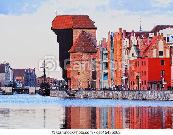 guindaste, polônia, antigas, gdansk, porto - csp15435263