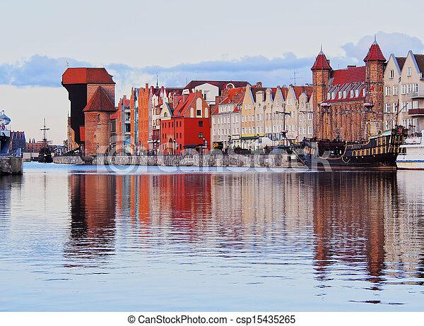 guindaste, polônia, antigas, gdansk, porto - csp15435265