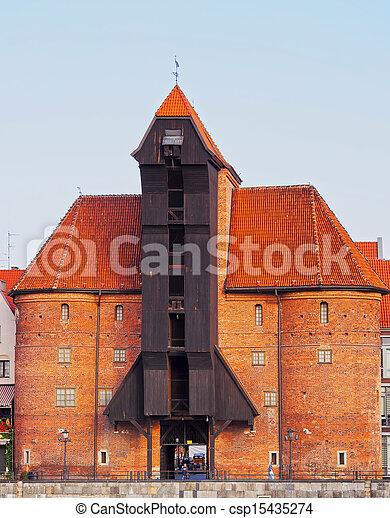guindaste, polônia, antigas, gdansk, porto - csp15435274