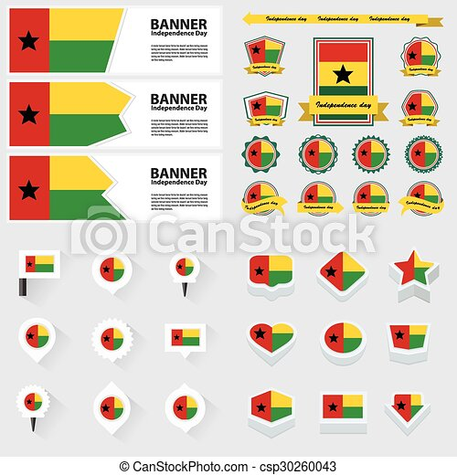 guinea bissau independence day, infographic, and label Set. - csp30260043