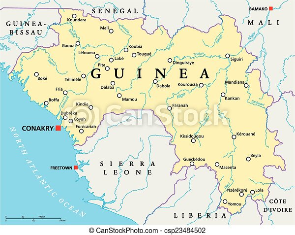 Guinea political map with capital conakry national borders