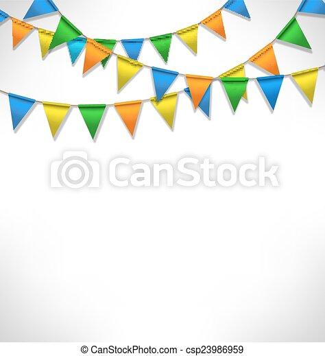 guirlandes, buntings, clair, grayscale, multicolore - csp23986959