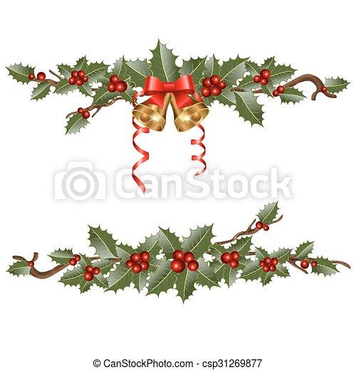 Guirlandes houx branches illustration vecteur - Dessin guirlande de noel ...