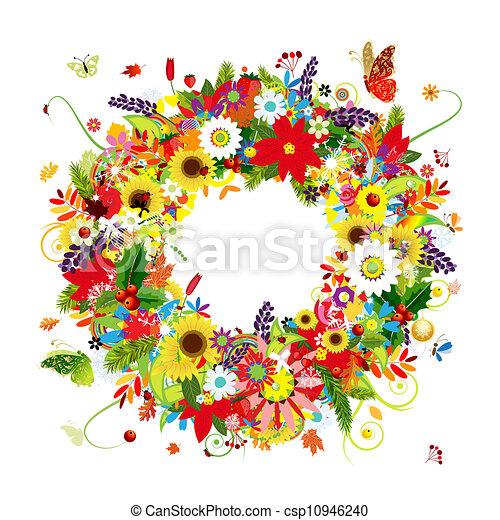 Cuatro temporadas, corona floral para tu diseño - csp10946240