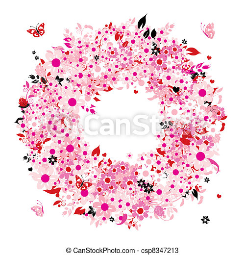 Una corona de flores para tu diseño - csp8347213