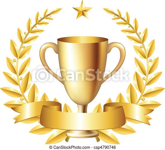 Una copa con corona de laurel - csp4790746