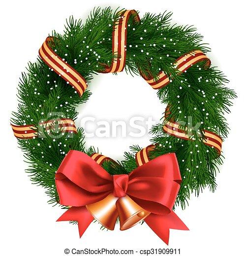 corona de Navidad aislada - csp31909911