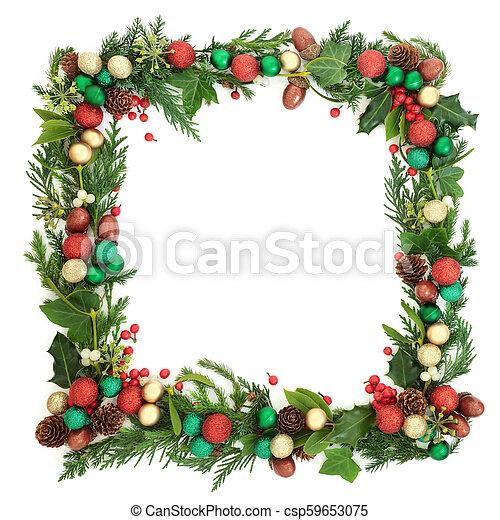 Una corona festiva de Navidad - csp59653075