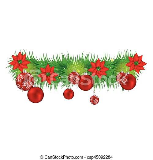 guirnaldas flores guirnalda navidad rojo vector - Guirnalda Navidad