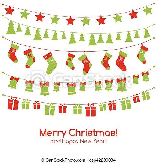 guirnaldas navidad tarjeta de felicitacin festivo vector - Guirnaldas Navidad
