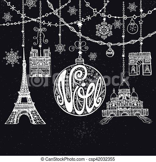 Navidad, noe card. Garlands,ball,Paris - csp42032355