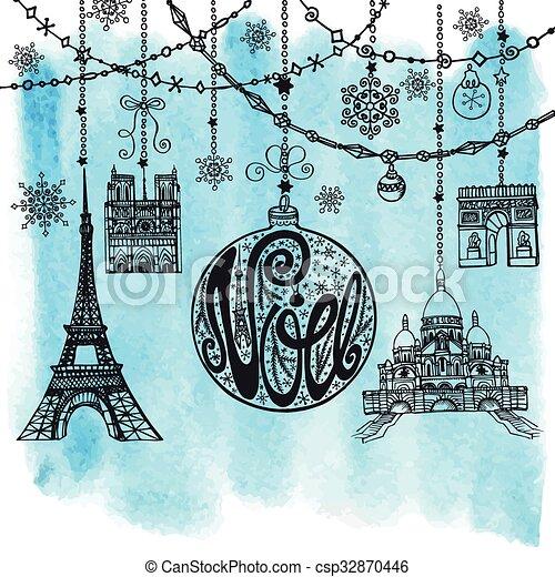 Navidad, noe card. Garlands,ball,Paris.Watercolor - csp32870446
