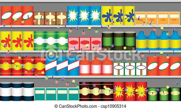 Estantes de supermercado con guirnaldas - csp10905314