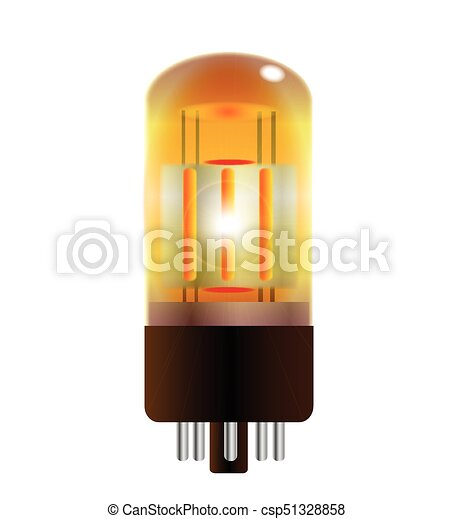 One Red Hot Guitar Amplifier Valve Over A White Background Clipart