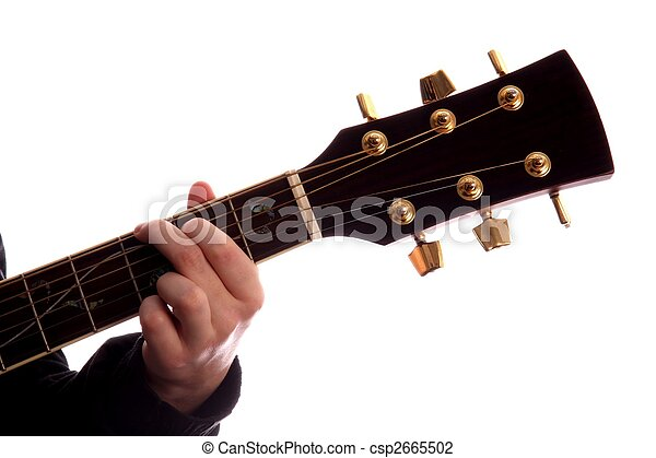 Guitar chord g major. Acoustic guitar with person\\\'s fingers playing ...