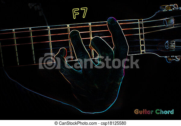 Guitar chord on a dark background, stylized illustration of... stock ...