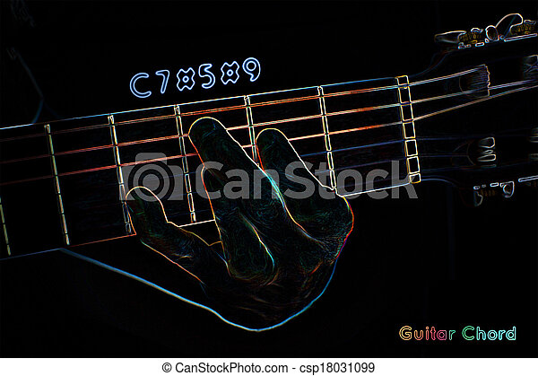 Guitar Chord On A Dark Background Stylized Illustration Of Stock