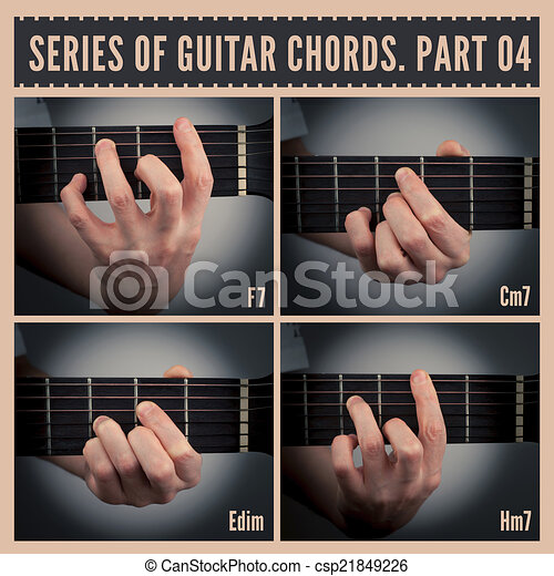 Guitar chords. A series of guitar chords with symbols. part 04.