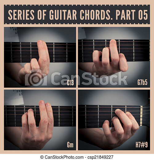Guitar chords. A series of guitar chords with symbols. part 05.