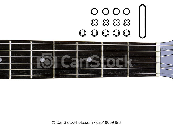 Guitar chords diagrams - diy. an empty guitar neck with icons for ...