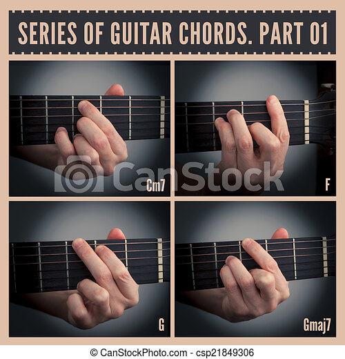 A series of guitar chords with symbols. part 01 stock illustration ...
