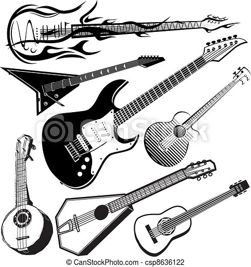 Guitar Collection Clip Art Collection Of Various Stringed