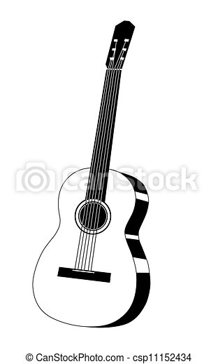 Guitar Drawing On White Background Stock Illustration