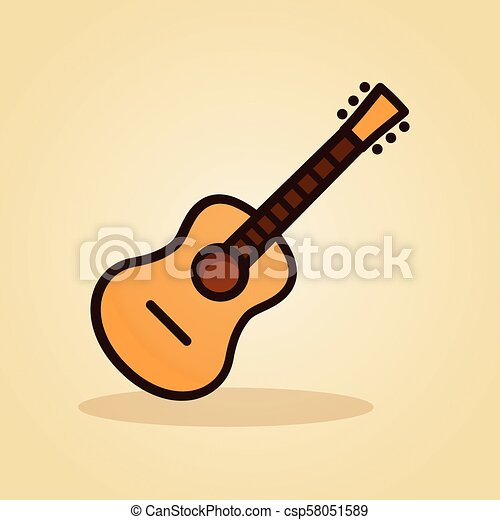 guitar icon on brown background - csp58051589