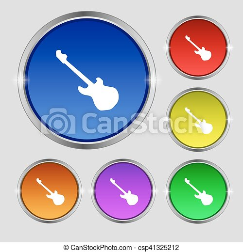 Guitar icon sign. Round symbol on bright colourful buttons. Vector - csp41325212