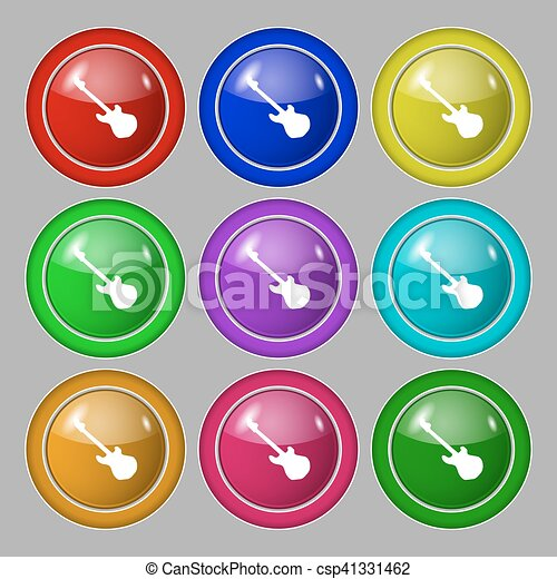 Guitar icon sign. symbol on nine round colourful buttons. Vector - csp41331462