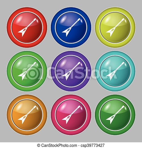 guitar icon sign. symbol on nine round colourful buttons. Vector - csp39773427