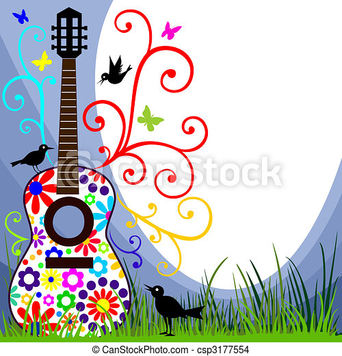 Guitar in the meadow - csp3177554