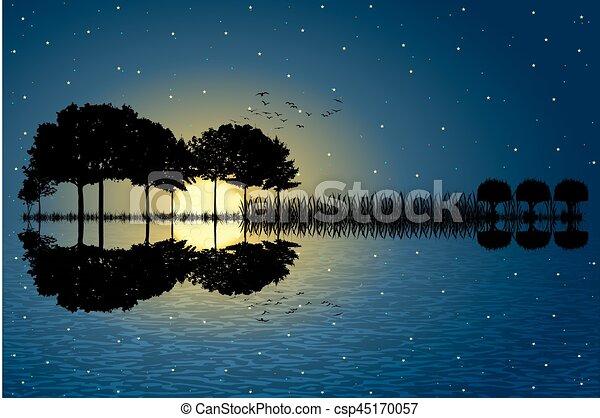 guitar island moonlight - csp45170057