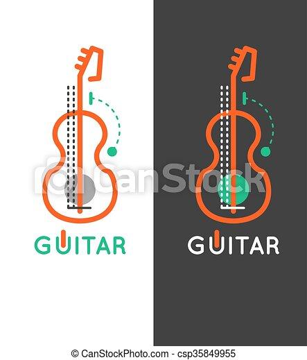 Guitar Music Shop Logo Lessons Icon Outline Design Online Store Vector
